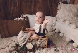 kurzarm Romper creme/dunkelbraun Sitzkinder mit Träger  ca. 9-12 Monate