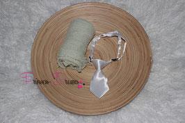 SET9 Wickeltuch pastell grün & Satin Krawatte weiß