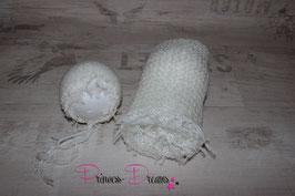 Rüschen Set Mohair: Haube & Wrap weiß
