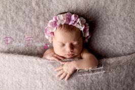 Blumenkranz zum Binden ab Newborn viele Blumen altrosa/creme