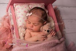 "Set: Haarband & Pillow creme/rosa Blumenlook & ""Pompom"""