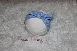Schleifen-Stirnband ab KU40 blau /Dots weiß