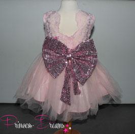 Neu! Princess-Kleid rosa mit Pailetten & 3D Schleife 1-3 Jahre