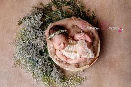 Blumenkranz  ab Newborn zum Binden grün/weiß