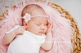 HB285 Mohair Häkelband Blume weiß/rosa