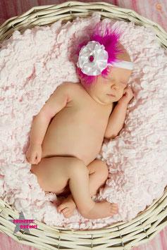 FHB Blume weiß Federn pink