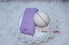 Set Perlen Musselin-Fransentuch flieder & Perlen Haarband flieder