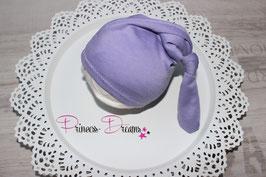 Zipfelmütze Mütze dark flieder Newborn genäht Newborn-ca. 2 Monate