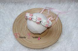 Blumenkranz zum Binden ab Newborn rosa/weiß