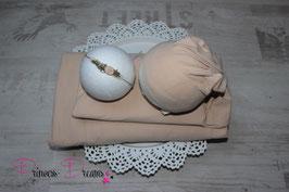 Set: Wrap/Mütze/Haarband/ Beanbagdecke beige