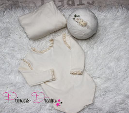 Set*: Rüschen Romper creme uni for Girls/Pucktuch & HB
