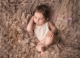 Rüschen-Romper creme/zartrosa für Sitzkinder  ab 9- ca. 16 Monate auch mit Haarband bitte unten auswählen