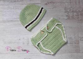 Strick Set: Mütze mit Höschen grün