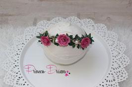 Blumenkranz zum Binden ab Newborn pink/grün