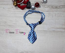 X-MAS Krawatte blau/weiß gestreift 10x5cm