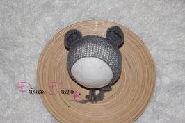 Mohair Ohren-Haube Bärenmütze grau