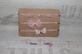 SHB 3er Set Schleifen, Spitze, Perlen rosa