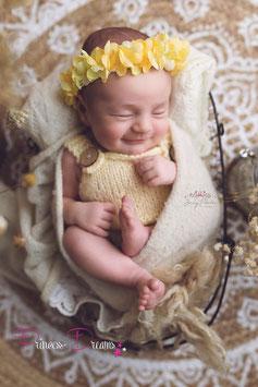 Blumenkranz zum Binden ab Newborn viele Blumen gelb