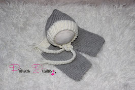 Strick set grau/cremeweiß Bonnet