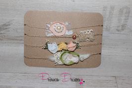SHB 4er Set Schleifen, Blumen Spitze, Perlen versch. Materialien
