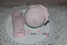 Foto Set: Mütze & Wrap rosa