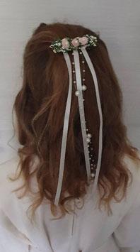 Kommunion Haarspange rosa/creme