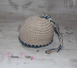 Mütze bis KU 39cm beige mit blau