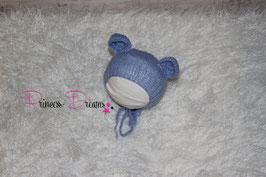 Mohair Ohren-Haube Bärenmütze blau