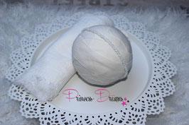 Set Musselin-Fransentuch weiß & Perlen Haarband weiß