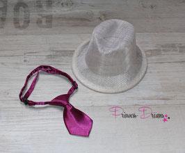 Set: Jungen Hut weiß & Krawatte beere