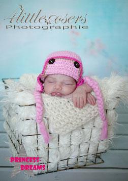 Baby Pilotenmütze m. Zöpfen rosa