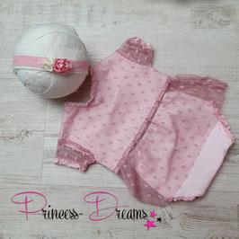 Tüll Rüschenrkleid kurz rosa ca. 0-2 Monate mit Höschen  auch mit Haarband bitte unten auswählen