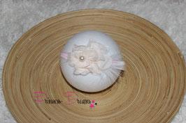 JHB Blume creme/rosa Perle/Feder/Netz