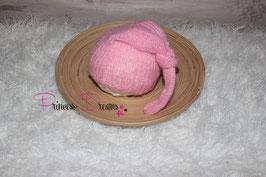 Mohair Zipfel-Mützchen rosa