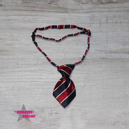 Mini Krawatte 10cmx5cm dunkelblau/rot  mit weiß gestreift