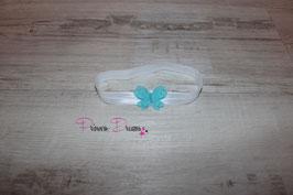 HB663 Schmetterling türkis auf weißem  Band
