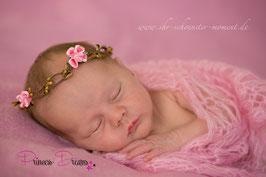 Blütenkranz für Newborns braun/rosa