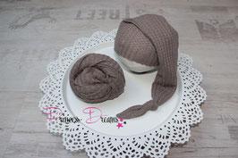 Foto Set: Mütze & Wrap braun strukturiert