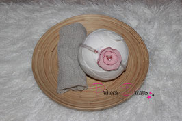 Set 12 SHB Altrosa Blume & Wickeltuch taupe