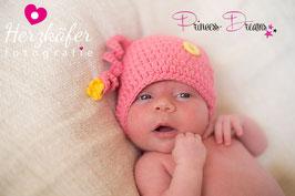 NEU! Mütze pink mit kleiner Blume & Knopf in gelb