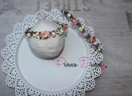 Mama Tochter Look Blumenkranz echtes Moss, Beeren & Perlen rosa