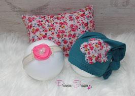 3tlg. Set Pillow/Mütze/HB flower teal