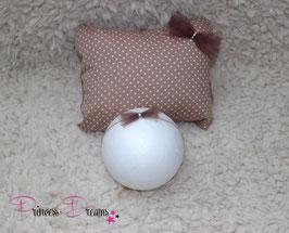 Set Pillow/Haarband braun/tan Dots