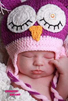 Eulenmütze lila/rosa ab 6 Monate bis ca. KU 49 cm