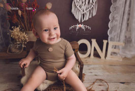 kurzarm Strick Romper Tan/dunkelbraun Sitzkinder  ca. 9-12 Monate