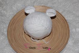 Mohair Ohren-Haube Bärenmütze weiß