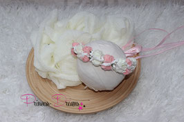 SET20: Musselintuch ivory & Haarkranz ivory/rosa zum Binden