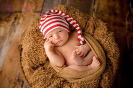 Zipfelmütze Mütze rot/weiß Newborn genäht Newborn-ca. 2 Monate