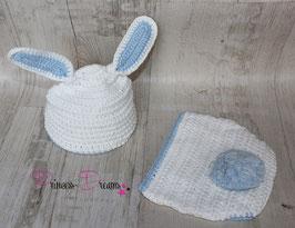 Häschen: Mütze & Hose weiß/blau