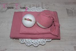 Set: Wrap/Mütze/Haarband/ Beanbagdecke altrosa